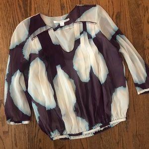 DVF watercolor blouson Silk Blouse 8 purple blue